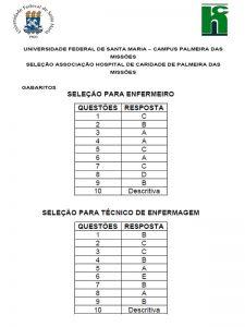 Gabarito Edital de Seleção 01/2021